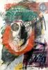 Sgrafitto, Malt på papir i glass og ramme, ca 80 x 110 cm
