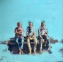 3 uomini in panchina 100 x 100 cm