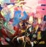 Trompetist (rosa) 100 x 100 cm