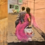 I gatene i Udaipur 100 x 100 cm