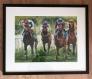 Horse race 2 Akvarell innrammet