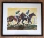 Horse race 3 Akvarell innrammet