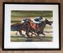 Horse race 4 Akvarell innrammet
