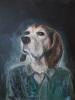 Beagle med perlekjede 70 x 90 cm