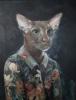Katt med blomstrete bluse 70 x 90 cm