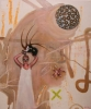 My fanciful childhood in wild beige with flowers100 x 120 cm