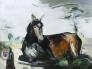Uden titel liggende hest 160 x 120 cm