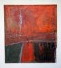 Rød aften 90 x 110 cm. Malt på blekkplate
