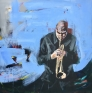 Trompetist (blå) 100 x 100 cm