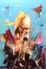 Trompetist (turkis) 70 x 100 cm