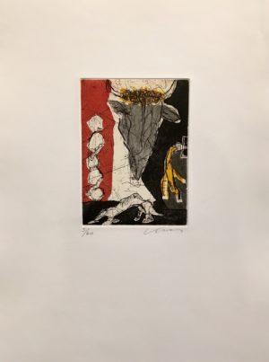 Kjeld Ulrich - 12 Uten tittel OKSE Etsning Ed60 Papir 38x48cm