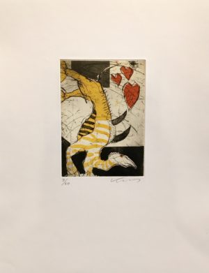 Kjeld Ulrich - 16 Uten tittel HEARTS Etsning Ed60 Papir 38x48cm