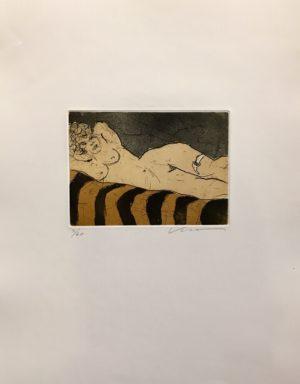 Kjeld Ulrich - 17 Uten tittel LIGGENDE AKT Etsning Ed60 Papir 38x48cm