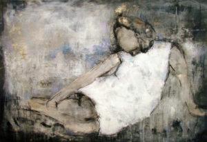 Annethe Østensen Hvit kjole 40 x 40 cm Giclée Opplag 50
