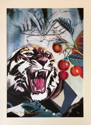 Cay Brøndum Blue tiger Limited Canvas Art Print 74x104cm