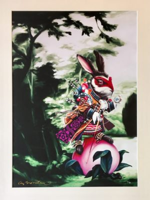 Cay Brøndum Green rabbit Limited Canvas Art Print 74x104cm